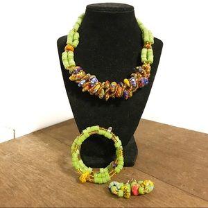 Jewelry - Matching Necklace Earrings Memory Bracelet Green